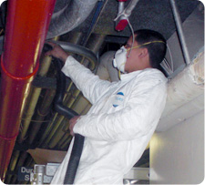 TERS worker performing an indoor air quality investigation